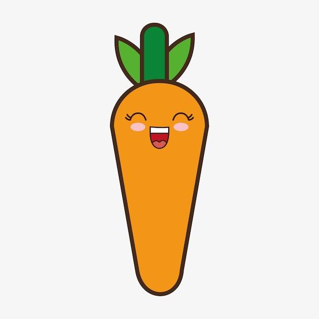 Zanahoria, Kawaii, Caricatura, Sonriente, Comida Sana