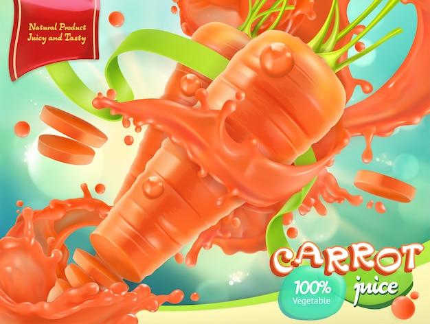 Zanahoria vegetal. comida sana. vector realista 3d, diseño de paquete Vector Premium