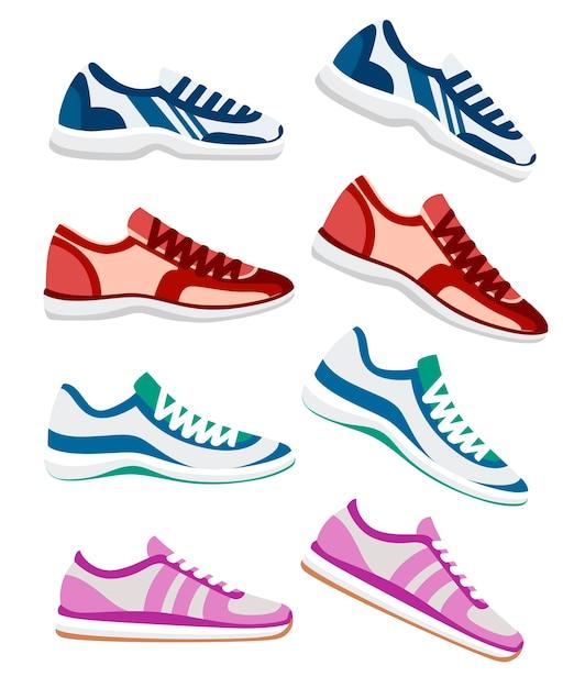 Zapatilla de deporte. ilustración de zapatillas deportivas, deporte fitness. ropa deportiva de moda, zapatillas deportivas para el día a día. ilustración sobre fondo blanco. Vector Premium
