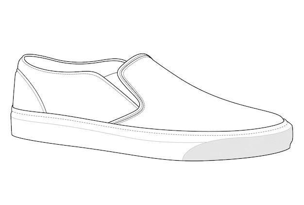 Zapatillas sin cordones con plantilla de dibujo técnico plano ...