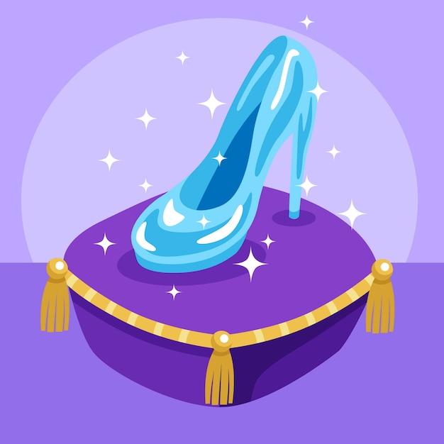 Zapato de cristal de cenicienta sobre una almohada violeta
