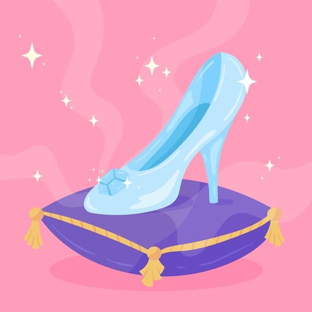 Zapato de cristal de cenicienta sobre almohada vector gratuito
