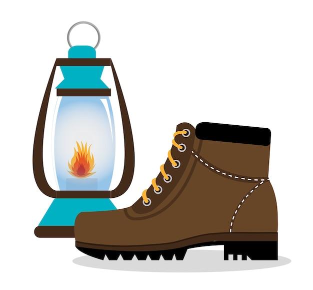 0c045608 Zapatos de botas de camping con lámpara icono aislado diseño ...