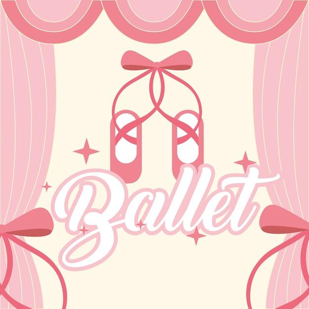 Zapatos de pointe de ballet rosa marco de la cortina de ballet ...