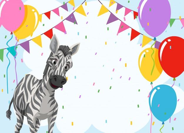Zebra en plantilla de fiesta vector gratuito