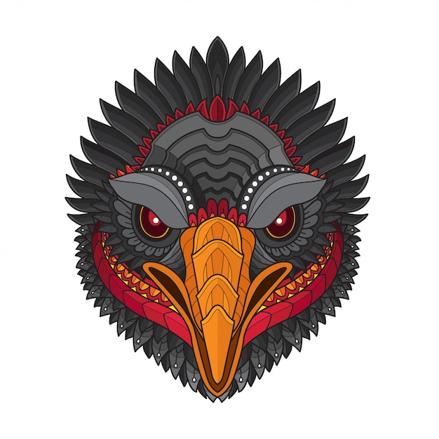 Zentangle estilizado buitre pájaro cabeza-vector ilustraciones Vector Premium