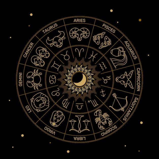 Zodiaco astrología horóscopo ilustración línea de oro en estilo minimalista negro. Vector Premium