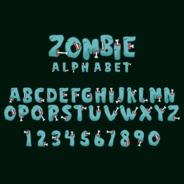 Zombie alphabet & numeric Vector Premium
