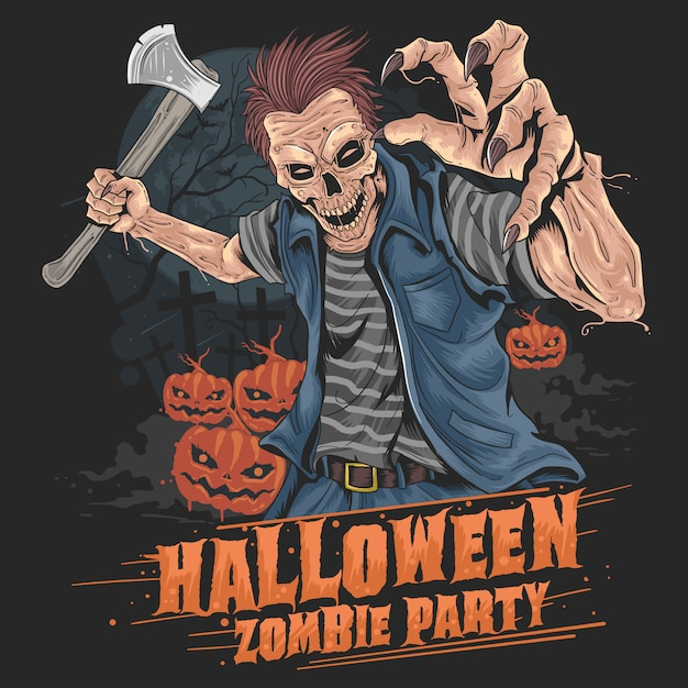 Zombie halloween fiesta calabaza Vector Premium