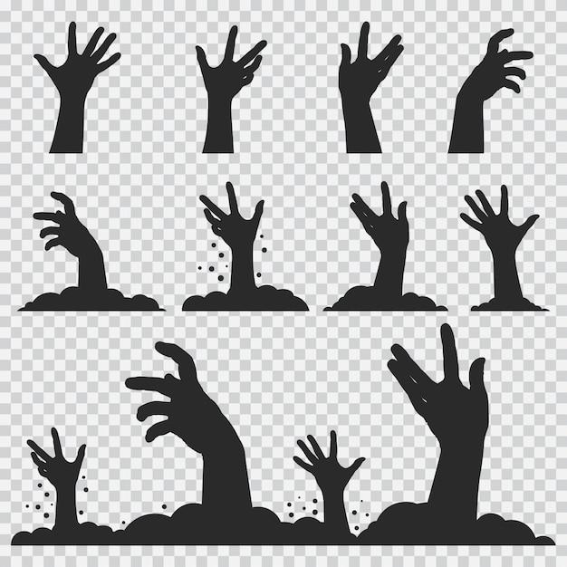 Zombie manos silueta negra. conjunto de iconos de halloween aislado Vector Premium