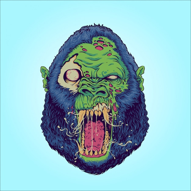 Zombierilla: zombie gorilla Vector Premium