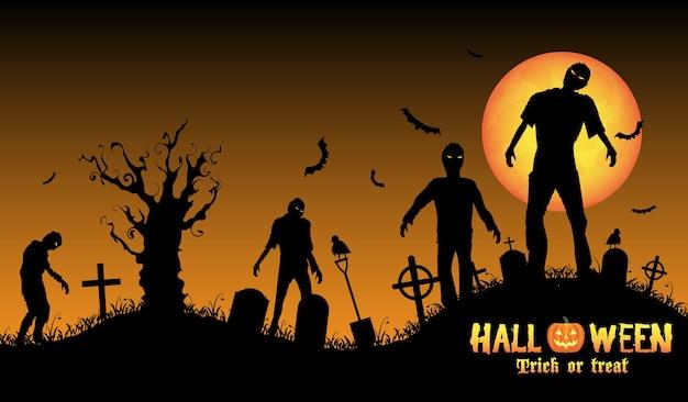 Zombies de halloween en un cementerio | Vector Premium
