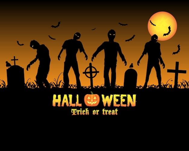 Zombies de halloween en un cementerio Vector Premium