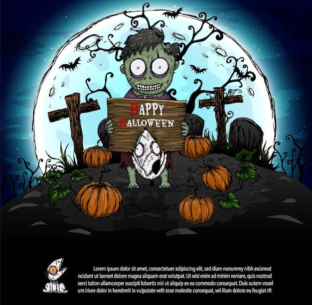 Zombies en la noche de halloween. Vector Premium