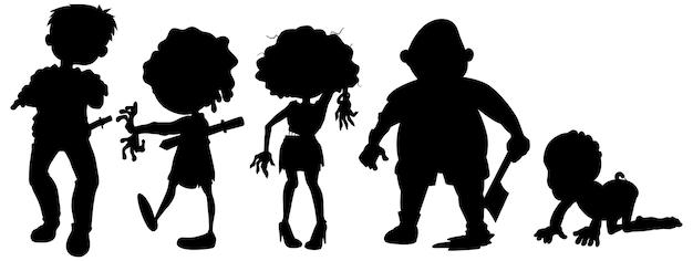 Zombies en silueta en personaje de dibujos animados en blanco vector gratuito