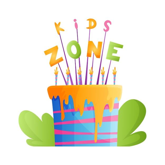Zona para niños. banner de sala de juegos en estilo de dibujos animados para zona de juegos para niños. Vector Premium