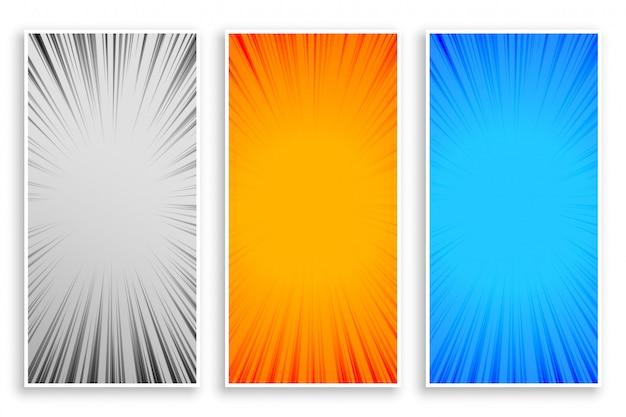 Zoom línea rayos abstractos pancartas conjunto de tres vector gratuito