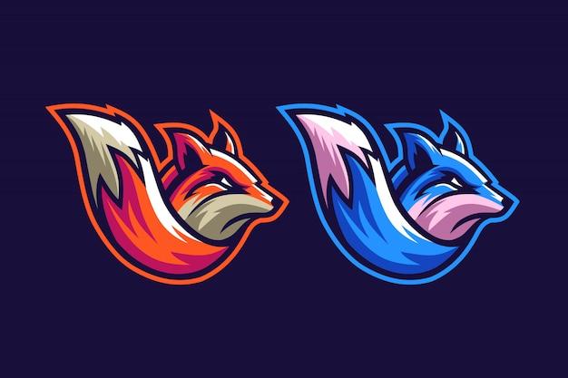 Zorro naranja y azul Vector Premium