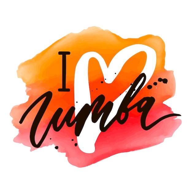 Zumba letras acuarela palabra texto color arte pop danza Vector Premium