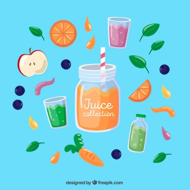 Zumo de naranja con fruta deliciosa vector gratuito