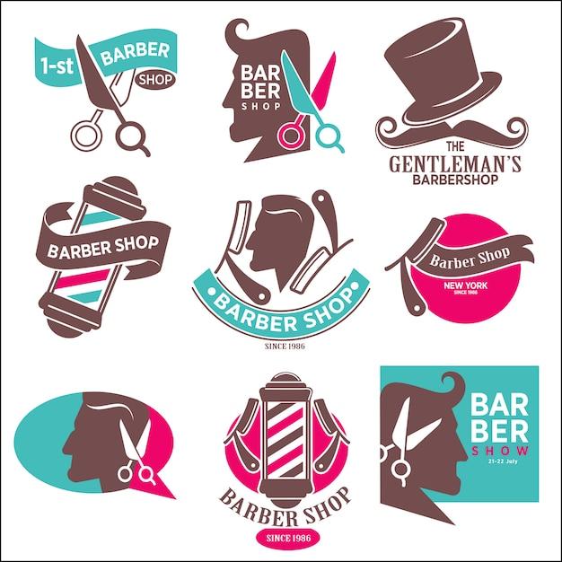 1. herren-barbershop. friseur-aufkleber. Premium Vektoren