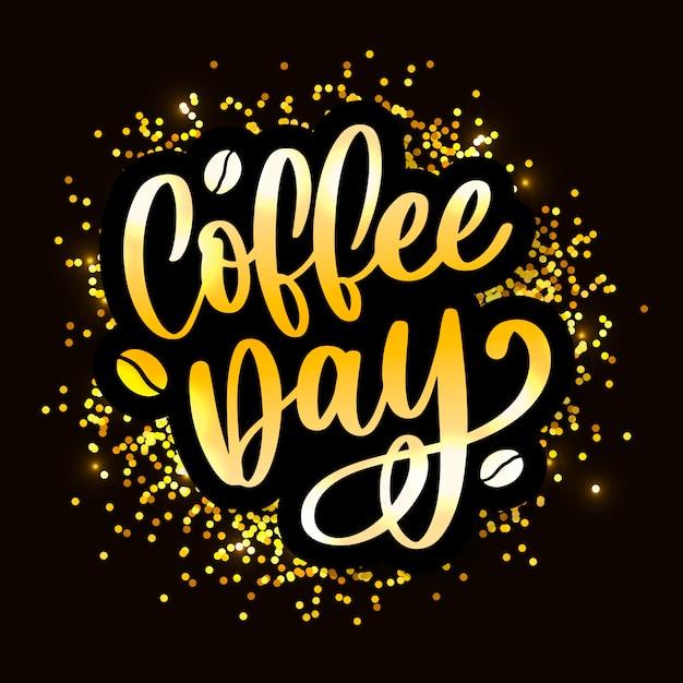 1. oktober internationaler kaffeetag gold schriftzug Premium Vektoren