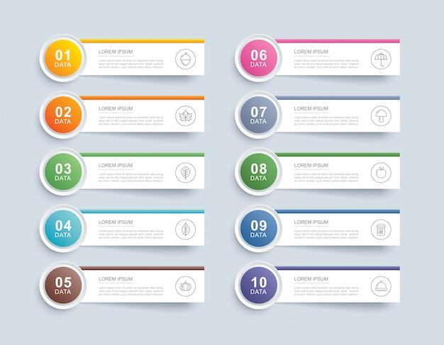 10 dateninfografiken registerkarte papier indexvorlage. vektorabbildung abstrakten hintergrund. kann für workflow-layout, geschäftsschritt, banner, webdesign verwendet werden. Premium Vektoren