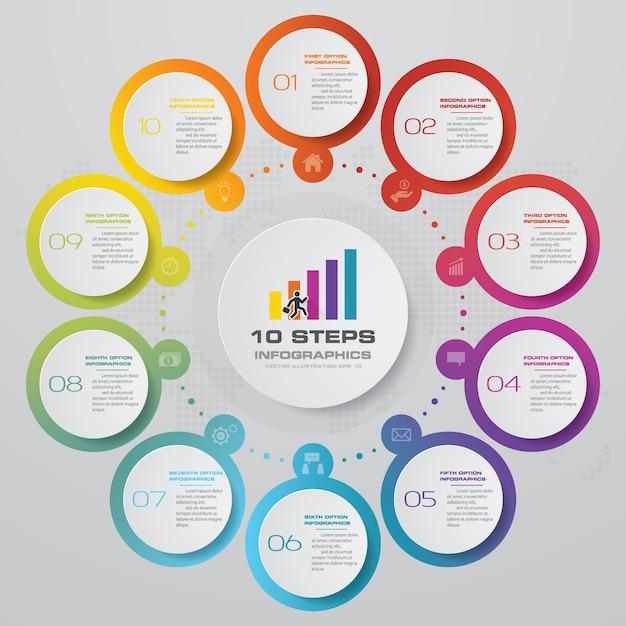 10 schritte infografiken element diagramm für die präsentation. Premium Vektoren
