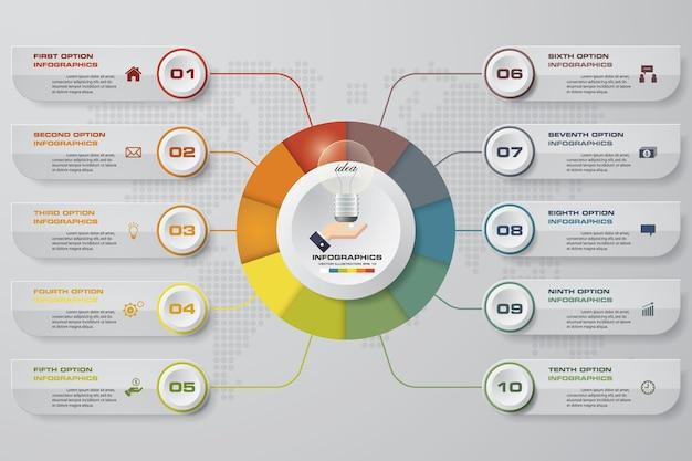 10 schritte infographics vorlage für die präsentation. Premium Vektoren