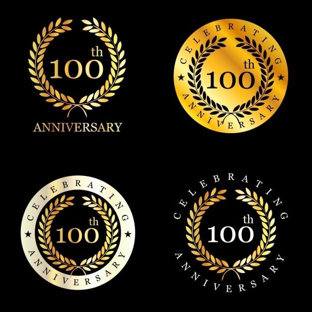 100 jahre feiern lorbeerkranz Kostenlosen Vektoren