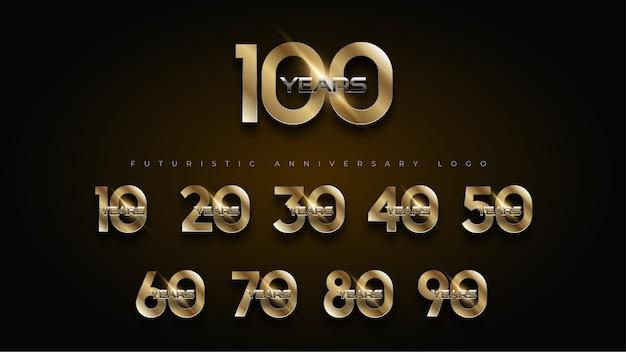 100 jahre luxus gold und silber jubiläum number set logo Kostenlosen Vektoren