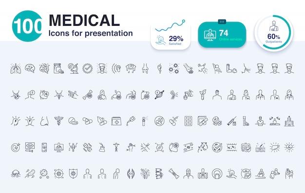 100 medizinische liniensymbol für die präsentation Premium Vektoren