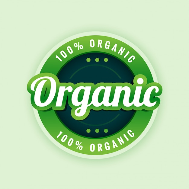 100% reines und organisches etiketten- oder aufkleberdesign Kostenlosen Vektoren