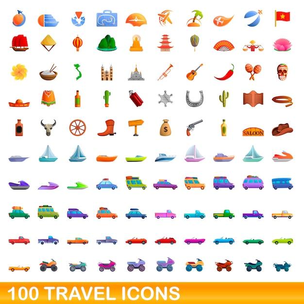 100 reiseset im cartoon-stil Premium Vektoren
