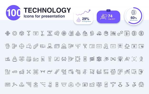 100 technologie liniensymbol für die präsentation Premium Vektoren