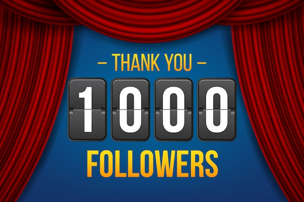 1000 abonnenten, danke banner. Premium Vektoren