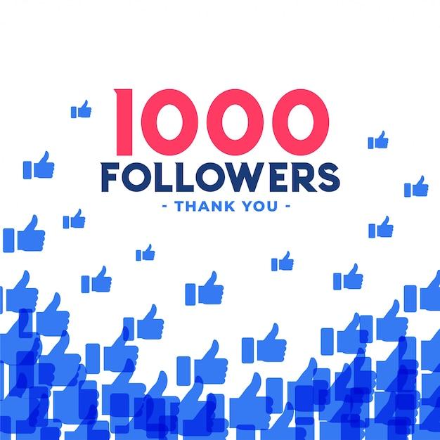 1000 follower oder tausend abonnenten banner Kostenlosen Vektoren