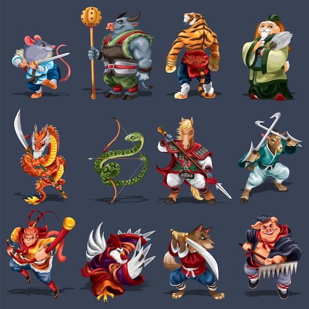 12 chinesische tierkreistiere im kungfu-stil Premium Vektoren