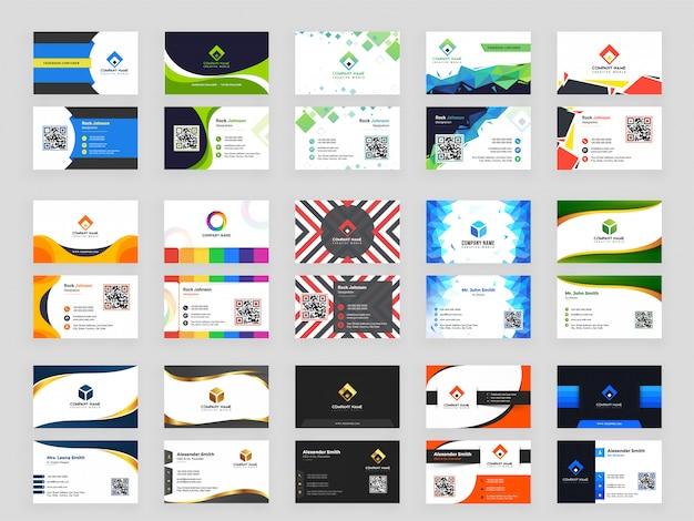 15 abstrakter designmustersatz der horizontalen visitenkarte Premium Vektoren