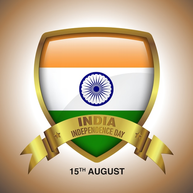 15. august india independence day in gold badge mit band Premium Vektoren