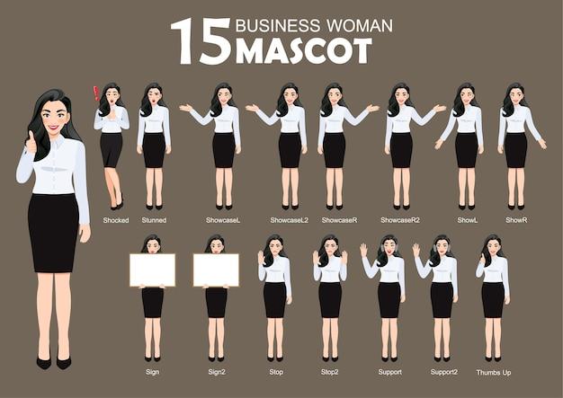 15 geschäftsfrau maskottchen, zeichentrickfigur-stil stellt satzillustration auf Premium Vektoren