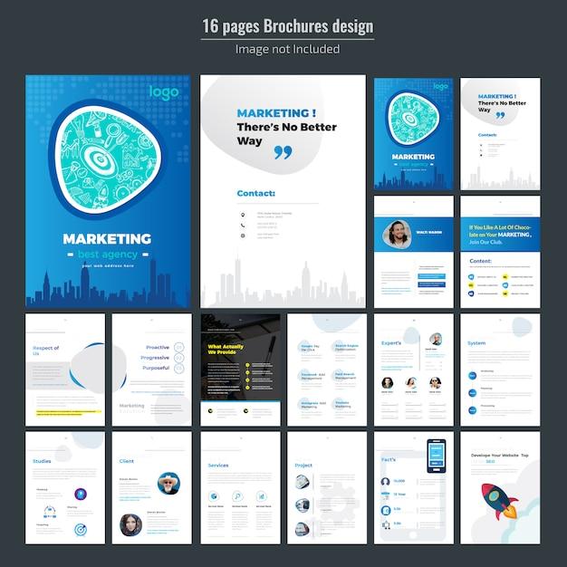 16 seiten marketingbroschüren-design für unternehmen Premium Vektoren