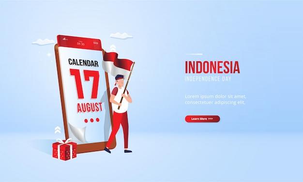 17. august indonesien unabhängigkeitstag illustration mobilen kalenderkonzept Premium Vektoren