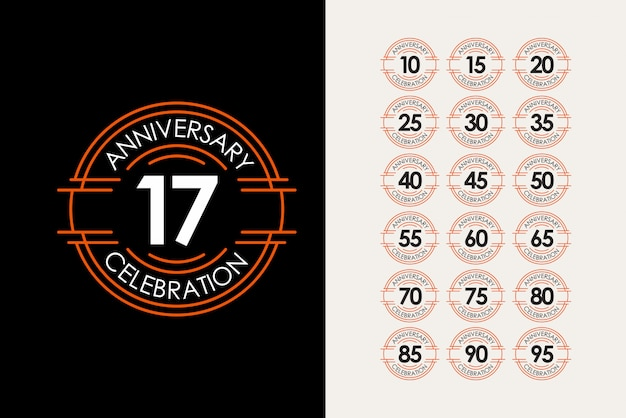 17 jahre jubiläum set feiern elegante vorlage design illustration Premium Vektoren