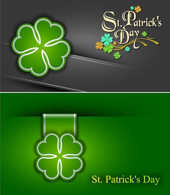 17. märz st. patrick day poster. ein kleeblatt und eine grußinschrift in grünen farben. Premium Vektoren