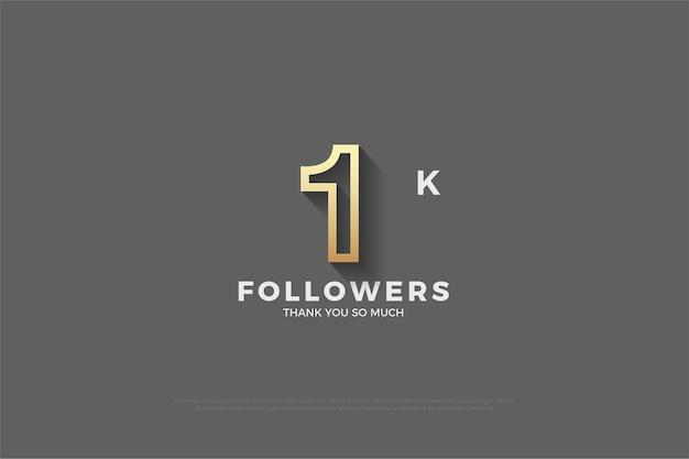 1k follower grauer hintergrund mit hellbraun umrissener nummer. Premium Vektoren