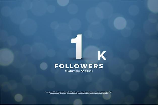 1k follower-hintergrund mit illustriertem hintergrund unter verwendung von dunkelblauem papier mit lichtkreiseffekt. Premium Vektoren
