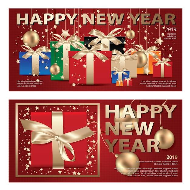 2 fahnen-frohe weihnachten u. guten rutsch ins neue jahr-schablonenhintergrund vektor-illustration Premium Vektoren