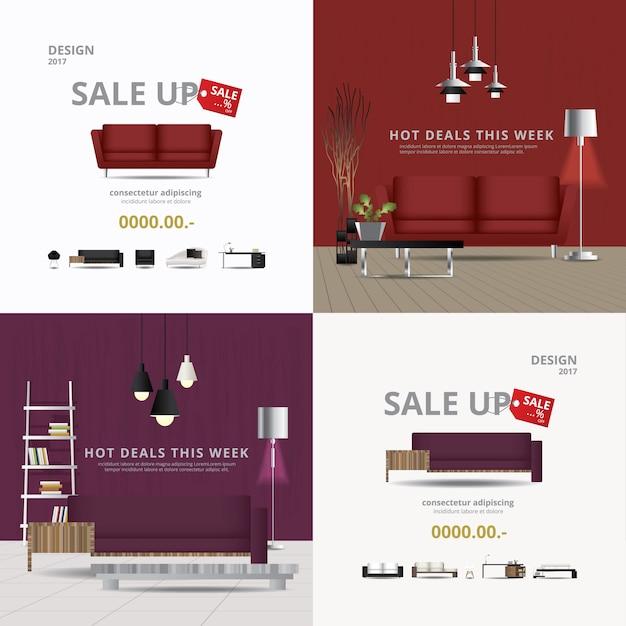2 fahnen-möbel-verkaufs-design-schablonen-vektor-illustration Premium Vektoren