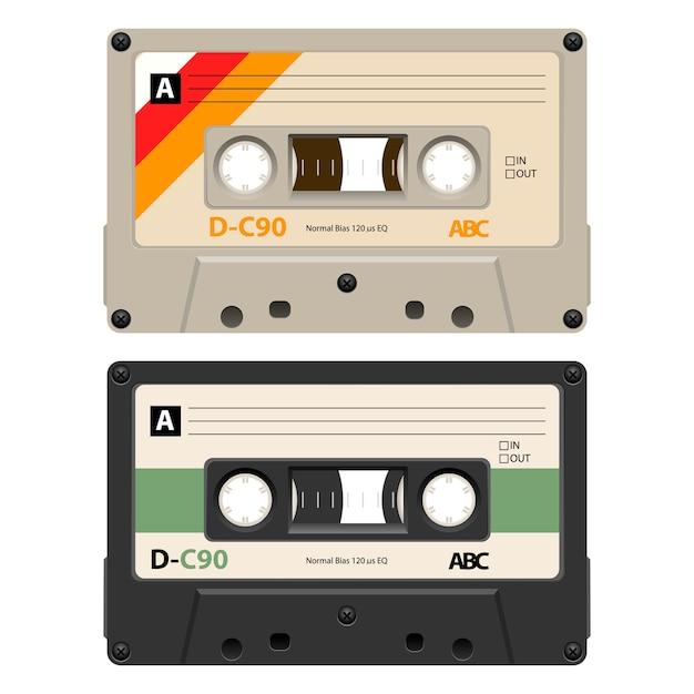 2 kassetten mit retro-label als vintage. Premium Vektoren